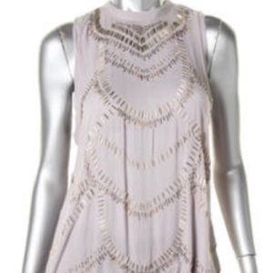 Free People grey open back beaded top